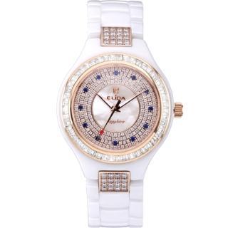 【ELIDA】知性婉約白T鑽E12款陶瓷腕錶(白 EA2912WDM-RW)