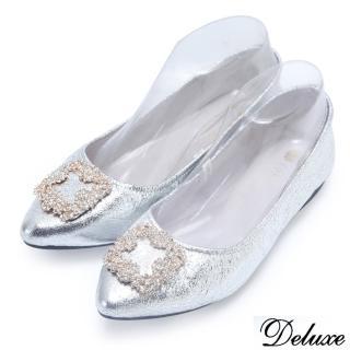 【Deluxe】全真皮銀漾水鑽口袋鞋(銀)