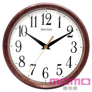 【RHYTHM日本麗聲】經典木紋座掛兩用18cm小型鐘(木紋棕)
