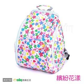 【Osun】防潑水無毒超容量媽咪包、媽媽包(繽紛花漾款雙肩前/後背包)
