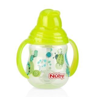【Nuby】卡拉雙耳彈跳吸管杯-360度吸管-270ml幾何款(綠)