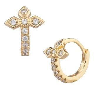 【SHASHI】美國品牌 Gia Huggie  925純銀鑲18K金小圓耳環(鑲鑽英式十字架)