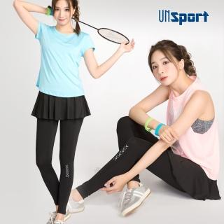 【Un-Sport高機能】假二件圓裙吸排九分褲(瑜伽/健身/跳舞)