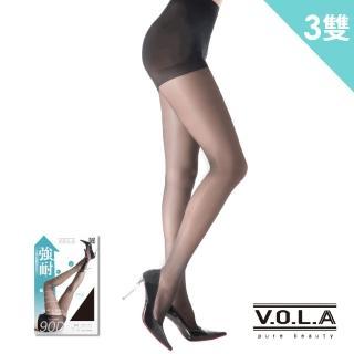 【VOLA 維菈襪品】90D強耐透膚絲襪 微加壓透膚 三段式壓力 完美身形呈現(3雙入)
