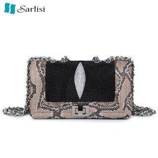 【Sarlisi】珍珠魚皮蟒蛇邊時尚晚宴小包