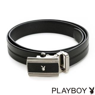 【PLAYBOY】兔頭LOGO 自動皮帶(黑色)