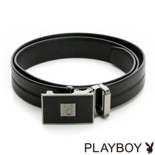 【PLAYBOY】方塊兔頭LOGO 自動皮帶(黑色)
