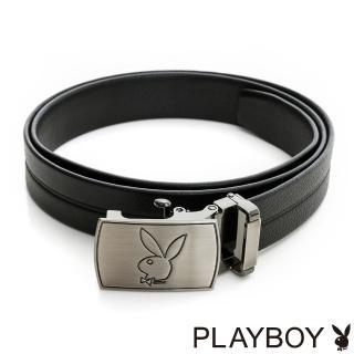 【PLAYBOY】雕刻兔頭LOGO 自動皮帶(黑色)