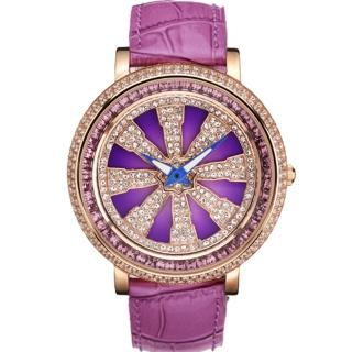 【ELIDA】法輪晶鑽皮帶錶(紫 EA2999-1DMR-V皮)