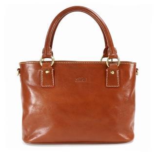 【Sika】義大利時尚簡約雅緻兩用手提包(M6161-01原味褐)