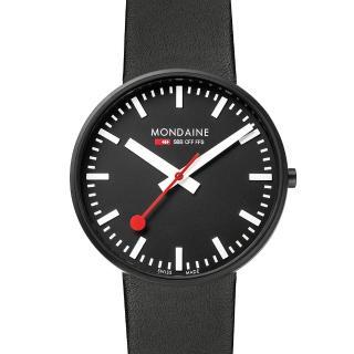 【MONDAINE瑞士國鐵】Giant大錶面限量腕錶/42mm-黑面