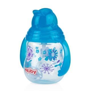 【Nuby】卡拉雙耳彈跳吸管杯-360度吸管-270ml幾何款(藍)