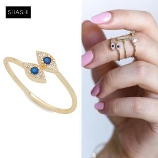 【SHASHI】紐約品牌 EVIL EYE 925純銀鑲18K金戒指  白鑽X藍鑽(智慧之眼可調式)