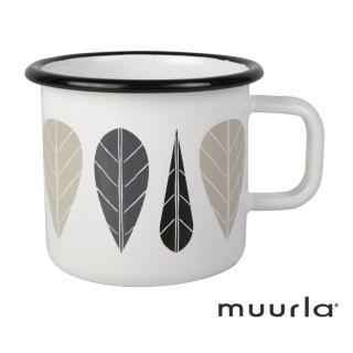 【芬蘭Muurla】黑葉琺瑯馬克杯-370ml(muurla 琺瑯杯 咖啡杯)
