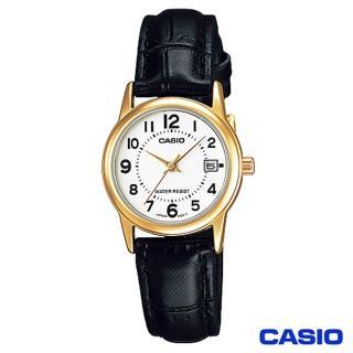 【CASIO卡西歐】時尚金系女仕皮帶腕錶(LTP-V002GL-7B)