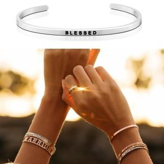 【MANTRABAND】美國悄悄話手環 BLESSED 享受榮寵 銀色(悄悄話手環)