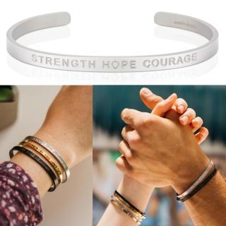 【MANTRABAND】Strength Hope Courage 力量希望勇氣 消光銀寬版(悄悄話手環)