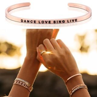 【MANTRABAND】美國悄悄話手環 Dance Love Sing Live 玫瑰金(悄悄話手環)
