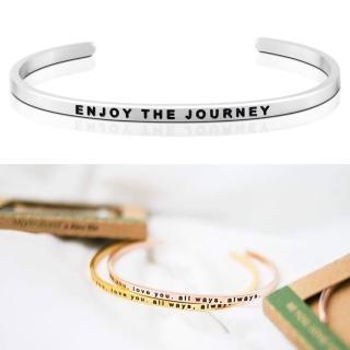 【MANTRABAND】美國悄悄話手環 Enjoy the Journey 享受人生 銀色(悄悄話手環)