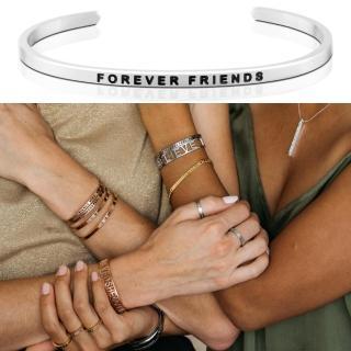 【MANTRABAND】美國悄悄話手環 FOREVER FRIENDS 一輩子的好朋友 銀色(悄悄話手環)