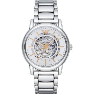 【Emporio Armani】Meccanico 雅爵鏤空機械腕錶-銀/43mm(AR1980)