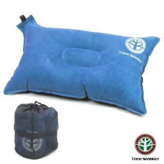 【TreeWalker】舒適麂皮自動充氣枕頭(藍色)