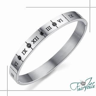【伊飾童話】羅馬方牌*316L鈦鋼鋯石手環/男
