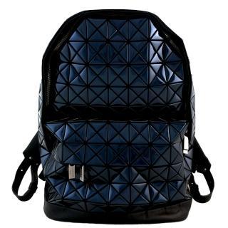 【ISSEY MIYAKE 三宅一生】BAOBAO鏡面方格拼接皮後背包(深藍)