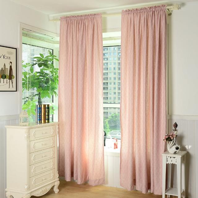 【伊美居】金絲菱格落地窗簾 130x230cm-2件(粉紅色)