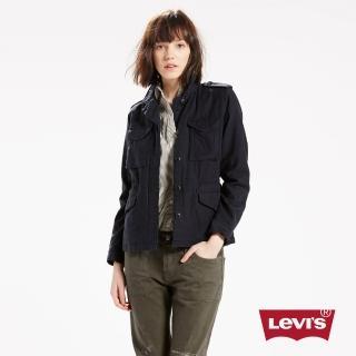 【Levis】女款純棉抽繩腰身夾克外套-低調黑