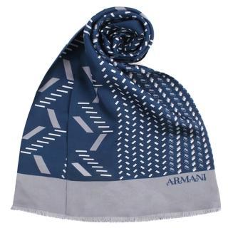 【ARMANI COLLEZIONI】幾何圖案短流蘇管狀蠶絲薄圍巾(湛藍色)