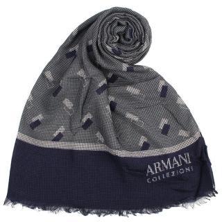 【ARMANI COLLEZIONI】幾何方塊細格紋寬版流蘇披肩圍巾(深藍色)
