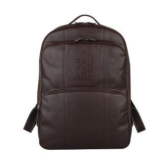 【LONGCHAMP】Cavalier系列商務男士皮革後背包(咖啡)