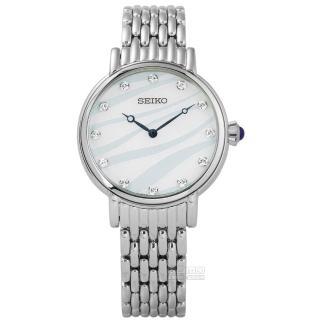 【SEIKO 精工】★贈皮錶帶/蔚藍海洋施華洛世奇珍珠母貝不鏽鋼手錶 白藍色 29mm(7N00-0BL0S.SFQ807P1)
