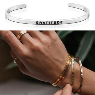 【MANTRABAND】美國悄悄話手環 GRATITUDE 感恩的心 銀色(悄悄話手環)