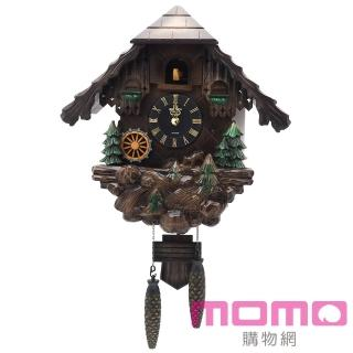 【RHYTHM日本麗聲】經典歐風黑森林水車木屋咕咕鐘(深茶色)