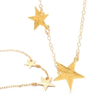 【GORJANA】美國品牌 Super Star Necklace鑲18K金項鍊(波浪紋幸運雙星)