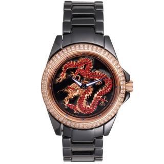 【ELIDA】時來運轉 飛龍在天陶瓷錶(黑 EA2998DM-B)