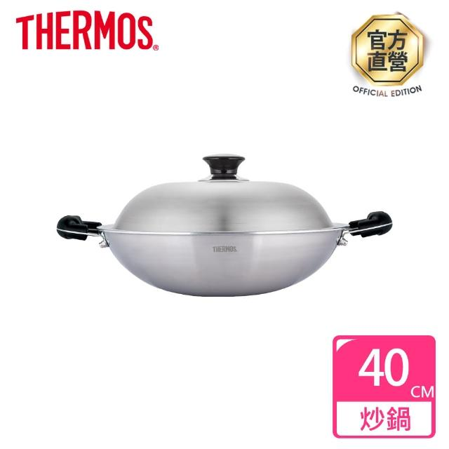 【THERMOS 膳魔師】新一代複合金炒鍋40cm(WK6-40-S)
