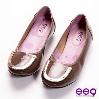 【ee9】ee9 魅力女爵-金屬壓邊盾牌牛漆皮超柔軟樂福鞋-亮麗卡其(樂福鞋)