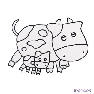 【BabyTiger虎兒寶】愛玩色 兒童無毒彩繪玻璃貼-大張圖卡-牛 ipcpb07  台灣製(DIY 玻璃貼)