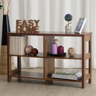 【EASY HOME】二層四格加寬隔間展示收納櫃(美禪胡桃色)