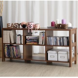 【EASY HOME】二層六格隔間展示收納櫃(美禪胡桃色)