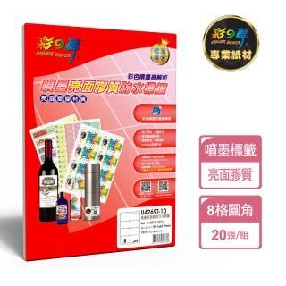 【彩之舞】進口3合1亮面膠質標籤A4-8格圓角-2x4/10張/包 U4269T-10x2包(貼紙、標籤紙、A4)
