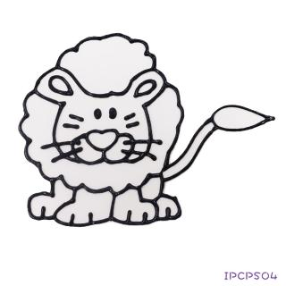 【BabyTiger虎兒寶】愛玩色 兒童無毒彩繪玻璃貼-小張圖卡-獅子 ipcpS04  台灣製(DIY 玻璃貼)