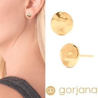 【GORJANA】美國品牌 Chloe Small Stud 圓形鑲18K金耳環(手工波浪紋)