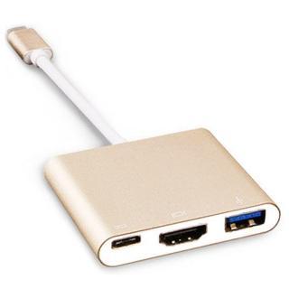 TypeC to HDMI/TypeC/USB3.0轉接器(金)