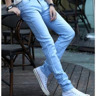 【NBL-NEWBOYLONDON】L03351HB淺藍色韓版彈力窄管褲(純棉牛仔高彈力小腳褲)