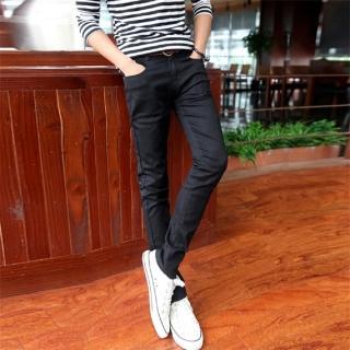 【NBL-NEWBOYLONDON】L03351BK黑色DB深藍色韓版彈力窄管褲(純棉牛仔高彈力小腳褲)