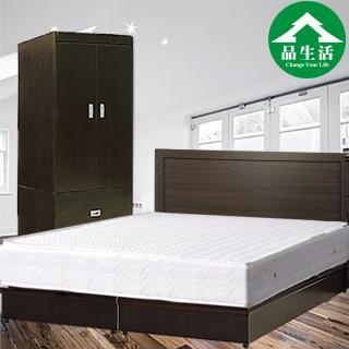 【品生活】簡約優質四件式房間組2色可選-雙人(床頭片+床底+衣櫥+獨立筒)